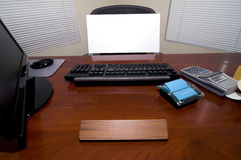 Desk and Blank Sign Stock Image