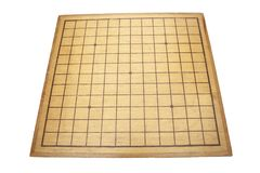 Desk for board game Go and black and white bones. Traditional asian strategy board game stock images