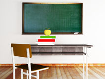A desk, books, the chair and a board. Class at school: a desk, books, the chair and a board Royalty Free Stock Images