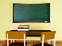 A desk, books, the chairs and a board. Class at school: a desk, books, the chairs and a board Royalty Free Stock Image
