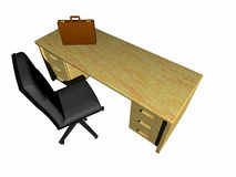 Desk, bureau. Top view on a bureau, desk with briefcase and clipboard.  Bryce creation Royalty Free Stock Images