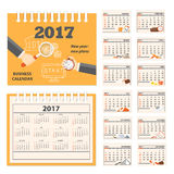 Desk business calendar 2017 year. Business calendar for desk on 2017 year. Set of the 12 month isolated pages with business icons and full calendar with image on Royalty Free Stock Photography