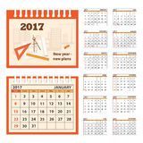 Desk business calendar 2017 year. Business calendar for desk on 2017 year. Set of the 12 month isolated pages with image on the cover. Week starts on Sunday. eps Royalty Free Stock Images
