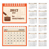 Desk business calendar 2017 year. Business calendar for desk on 2017 year. Set of the 12 month isolated pages with image on the cover. Week starts on Sunday. eps Royalty Free Stock Photo
