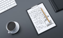 Desk with business graph top. Topview of desktop with business graph, coffee and other items. 3D Rendering Royalty Free Stock Images