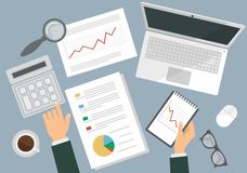 Desk of a businessman. Flat top view Stock Image