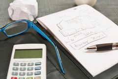 Desk with a calculator glasses, notepad and coffee. Royalty Free Stock Photography