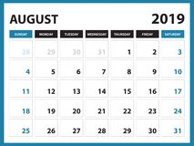 Desk calendar for AUGUST 2019 template, Printable calendar, Planner design template, Week starts on Sunday, Stationery design. Vector illustration vector illustration