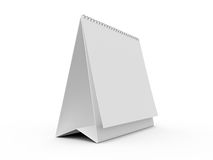 Desk Calendar. Blank paper desk calendar with shadow, side view, isolated on white background Royalty Free Stock Photo