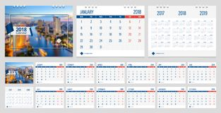 Desk calendar 2018. Calendar 2018 week start on Monday corporate business luxury design layout template with blue ribbon and whit line frame vector. Sample image stock illustration