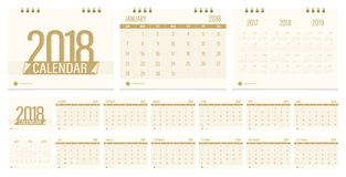 Desk calendar 2018. Calendar 2018 week start on Sunday corporate business luxury design gold color layout template vector Stock Photography