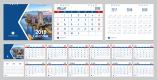Desk calendar 2018. Calendar 2018 week start on Sunday corporate business luxury design layout template vector. Sample image with Gradient Mesh Royalty Free Stock Photography