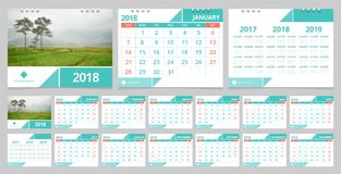 Desk calendar 2018. Calendar 2018 week start on Sunday. Desk calendar for corporate business design green concept color layout template set 12 months, front vector illustration