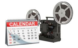 Desk calendar with cinema projector. Movie releases calendar concept, 3D rendering. Isolated on white background vector illustration