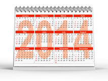 2014 desk calendar. 3D rendering of 2014 desk calendar on white background Stock Images
