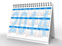 2014 desk calendar. 3D rendering of 2014 desk calendar on white background Royalty Free Stock Photo