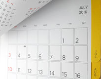 Desk calendar with days and dates in July 2016 Stock Images