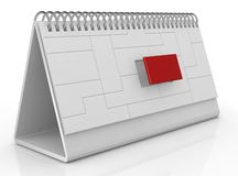 Desk calendar and deadline. One desk calendar made with puzzle pieces with one piece in red color (3d render Royalty Free Stock Photography