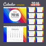 Desk Calendar 2016 Design Template with abstract. Trendy colorful pattern. Set of 12 Months. vector illustration Royalty Free Stock Images
