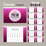 Desk Calendar 2016 Design Template with abstract. Trendy dotted colorful pattern. Sunday Start. Set of 12 Months. vector illustration Stock Photography