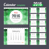 Desk Calendar 2016 Design Template with abstract. Trendy hexagonal colorful pattern. Sunday Start. Set of 12 Months. vector illustration Stock Photography