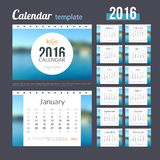 Desk Calendar 2016 Design Template with Nature Coast Water Background. Sunday Start. Set of 12 Months.. Vector illustration Stock Photos