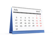Desk Calendar 2017 July. Montly desk calendar, July month, 2017 year, isolated on white background royalty free illustration