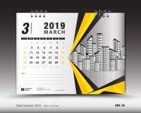 Desk calendar for MARCH 2019 template, Printable calendar, Planner design. Template, Week starts on Sunday, Stationery design, vector illustration Royalty Free Stock Images