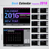 Desk calendar 2016 modern design template for new year,office. Desk calendar 2016 vector design template with Set of 12 Months Can be used for office object, new Stock Photography