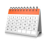 Desk Calendar. Orange and White Desk Calendar on White Background 3D Illustration Royalty Free Stock Photography