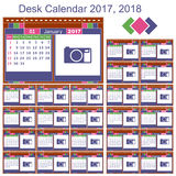 Desk calendar 2017, 2018. Desk calendar. Set print template for 2017 and 2018 Royalty Free Stock Photography