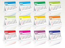 2014 desk calendar set. Vector illustration royalty free illustration