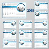Desk Calendar 2018. Simple Colorful Gradient minimal elegant desk calendar template in white background royalty free illustration