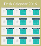 Desk Calendar for 2016, Simple Vector Template Royalty Free Stock Image