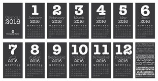 Desk Calendar for 2016, Simple Vector Template, Royalty Free Stock Photo