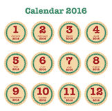 Desk Calendar for 2016, Simple Vector Template. Vector Design Print Template, Set of 12 months Royalty Free Stock Photos