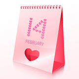 Desk calendar with spiral cut and heart. Royalty Free Stock Image