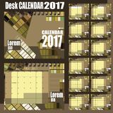 Desk calendar 2017. Stylish vector desk calendar 2017 - olive green Royalty Free Stock Image
