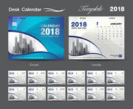 Desk Calendar 2018 template design, Blue cover, Set of 12 Months Royalty Free Stock Photography
