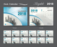 Desk Calendar 2018 template design, blue cover, Set of 12 Months. Set Desk Calendar 2018 template design, blue cover, Set of 12 Months, Week start Sunday Stock Photo
