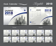 Desk Calendar 2018 template design, blue cover, Set of 12 Months. Set Desk Calendar 2018 template design, blue cover, Set of 12 Months, Week start Sunday Royalty Free Stock Image