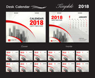 Desk Calendar 2018 template design, red cover, Set of 12 Months,. Business calendar creative Stock Photography