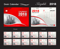 Desk Calendar 2018 template design, red cover, Set of 12 Months. Corporate calendar creative Royalty Free Stock Photos