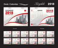 Desk Calendar 2018 template design, red cover, Set of 12 Months, royalty free stock image