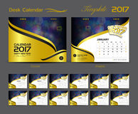 Desk Calendar 2017 template design set, Cover Desk Calendar Royalty Free Stock Image