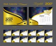 Desk Calendar 2017 template design set, Cover Desk Calendar. Gold cover, business flyer design Royalty Free Stock Image