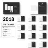 Clean Desk Calendar template design 2018 vector. Desk Calendar template design 2018 vector nVector, A5 Paper, Resizeable, Clean Look Royalty Free Stock Photos