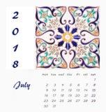 Desk Calendar 2018 Template flyer design . Decorative tiles. Valencia. Spain Royalty Free Stock Photo