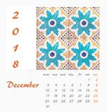 Desk Calendar 2018 Template flyer design . Decorative tiles. Valencia. Spain Stock Image