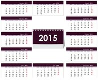 Desk calendar 2015 template. Illustration in vector format Royalty Free Stock Photos